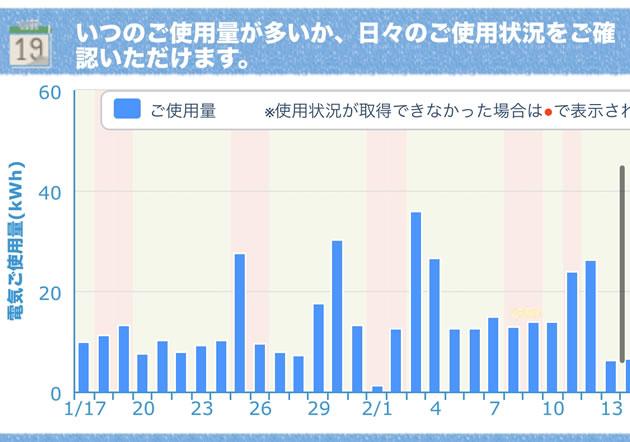 筆者の自宅の日別の電気使用量のグラフです。